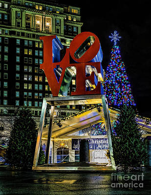 Photograph - Christmas - Love Park  by Nick Zelinsky