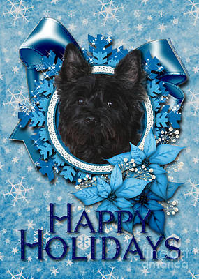 Breed Digital Art - Christmas - Blue Snowflakes Cairn Terrier by Renae Laughner