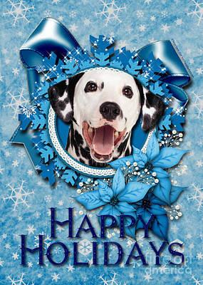 Christmas - Blue Snowflakes Dalmatian Art Print by Renae Crevalle