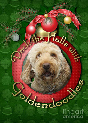 Breed Digital Art - Christmas - Deck The Halls With Goldendoodles by Renae Laughner