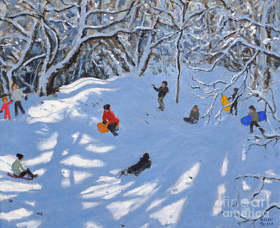 Winter Fun Painting - Christmas, Allestree Woods, Derby by Andrew Macara
