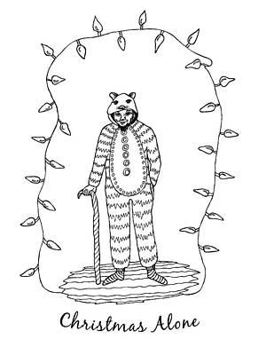 Drawing - Christmas Alone - Old Man  by Neringa Barmute