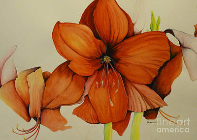 Painting - Christmas Amaryllis by Rachel Lowry