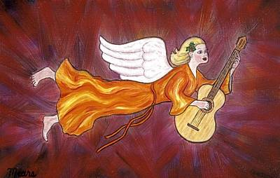 Angels Painting - Christmas Angel And Guitar by Linda Mears