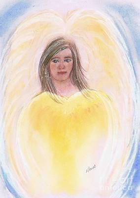 Angel Drawing - Christmas Angel by Karen Jane Jones