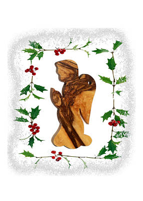 Olive Wood Photograph - Christmas Angel by Munir Alawi