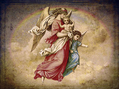 Etherial Digital Art - Christmas Angels And Baby by Bellesouth Studio