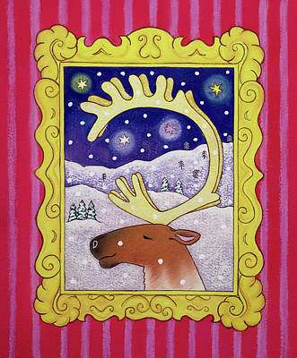 Reindeer Painting - Christmas Antlers by Cathy Baxter