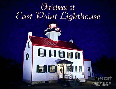 Mixed Media - Christmas At East Point Lighthouse 2 by Nancy Patterson