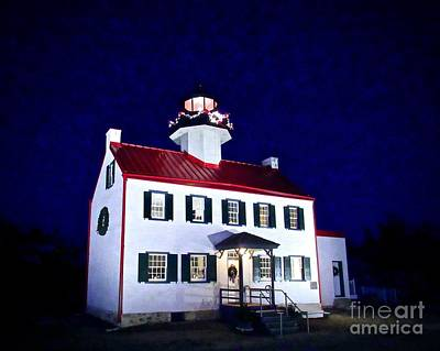 Photograph - Christmas At East Point Lighthouse by Nancy Patterson
