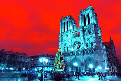 Photograph - Christmas At Notre Dame Pop Art by John Rizzuto