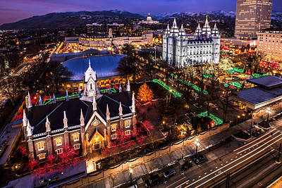 Photograph - Christmas At Temple Square by Ryan Smith