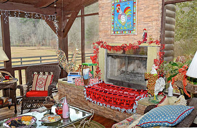 Christmas At The Farm Art Print by Susan Leggett