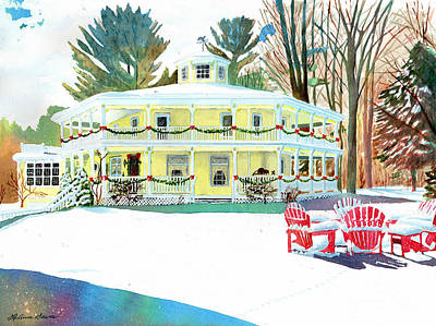 Painting - Christmas At The Hexagon House by LeAnne Sowa