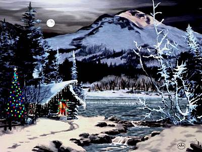 Painting - Christmas At The Lake V2 by Ron Chambers