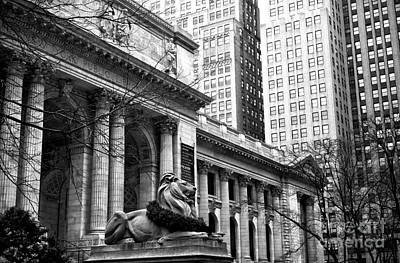 Christmas At The New York Public Library Art Print by John Rizzuto