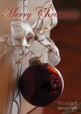 Christmas Ball And Bow Art Print by Alycia Christine