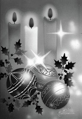 Painting - Christmas Balls And Candles Black And White by Laura Greco