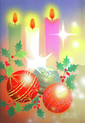 Painting - Christmas Balls And Candles by Laura Greco