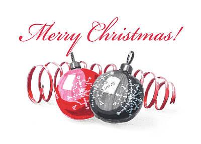 Painting - Christmas Balls Card by Masha Batkova