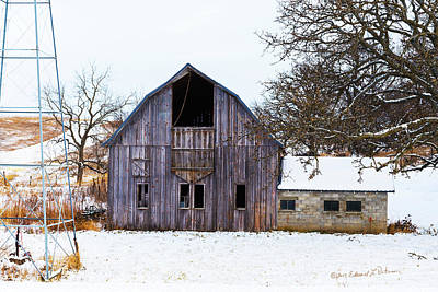 Photograph - Christmas Barn by Edward Peterson