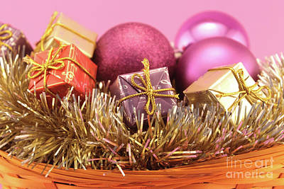 Christmas Basket On Pink Background Art Print