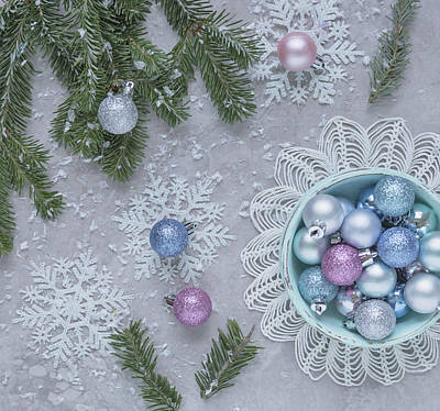 Art Print featuring the photograph Christmas Baubles And Snowflakes by Kim Hojnacki