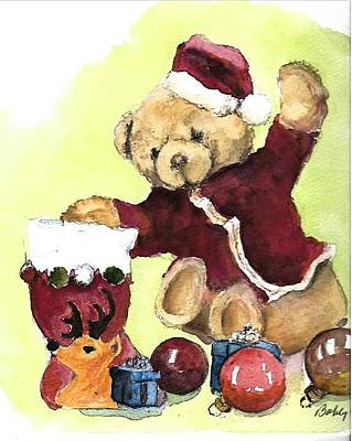 Painting - Christmas Bear by Bobby Walters