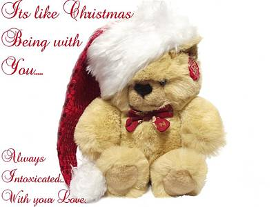 Christmas Bear Intoxicated With Your Love Art Print by Dawn Hay