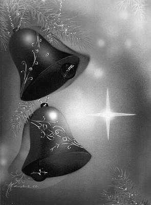 Christmas Bells In Black And White Art Print