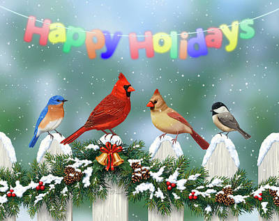 Chickadee Digital Art - Christmas Birds And Garland by Crista Forest