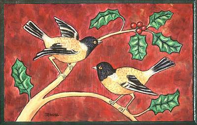 Black Bird Painting - Christmas Birds And Holly by Linda Mears
