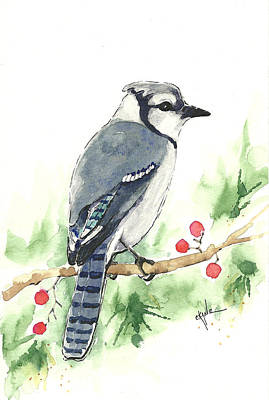 Cyanocitta Cristata Painting - Christmas Blue Jay by Christine Camp