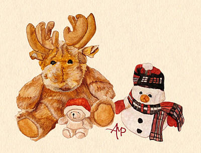 Teddy Bear Watercolor Painting - Christmas Buddies by Angeles M Pomata