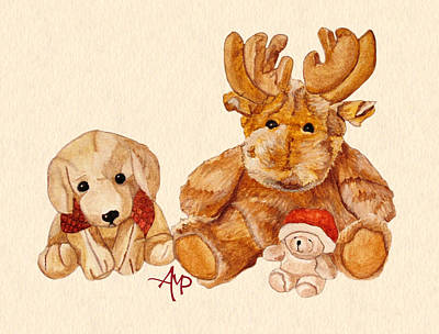 Teddy Bear Watercolor Painting - Christmas Buddies II by Angeles M Pomata