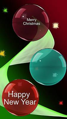 Digital Art - Christmas Bulbs by David Lane