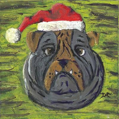 Christmas Bulldog Art Print by Davis Elliott