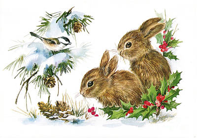 Painting - Christmas Bunny Rabbits And Birds Holley by R Muirhead Art