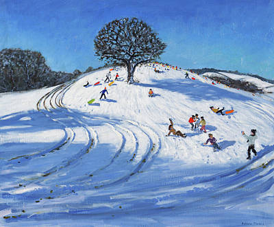 Snow Sports Painting - Christmas, Burley Lane, Derby by Andrew Macara