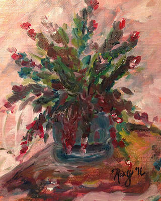 Oil Painting - Christmas Cactus by Roxy Rich