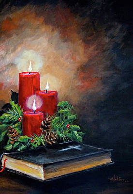 Painting - Christmas Candles by Alan Lakin