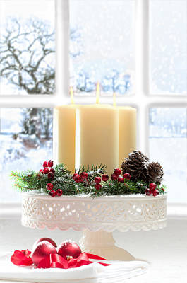 Snowy Photograph - Christmas Candles Display by Amanda Elwell