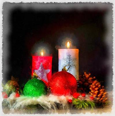 Gnomes Painting - Christmas Candles by Esoterica Art Agency