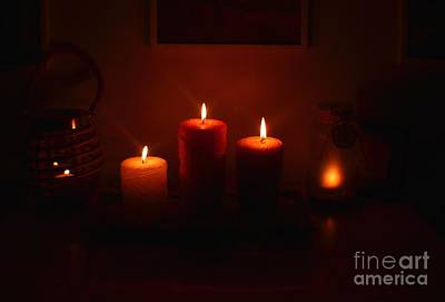 Photograph - Christmas Candles In The Night by Christopher Shellhammer