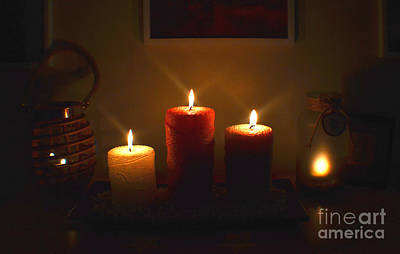 Photograph - Christmas Candles In The Night Number 3 by Christopher Shellhammer