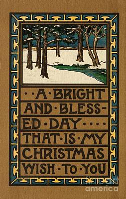 Snowy Day Painting - Christmas Card by American School