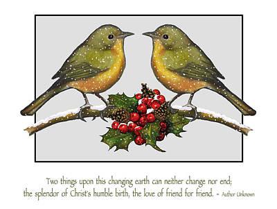 Christmas Card Birds And Friendship Art Print by Joyce Geleynse