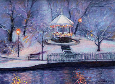 Gazebo Painting - Christmas Card by Bonnie Mason