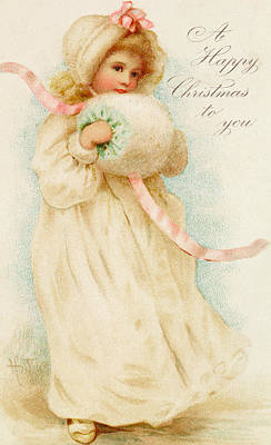 Depicting Painting - Christmas Card Depicting A Girl With A Muff by English School