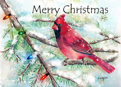 Christmas Cards Mixed Media - Christmas Cardinal by Arline Wagner